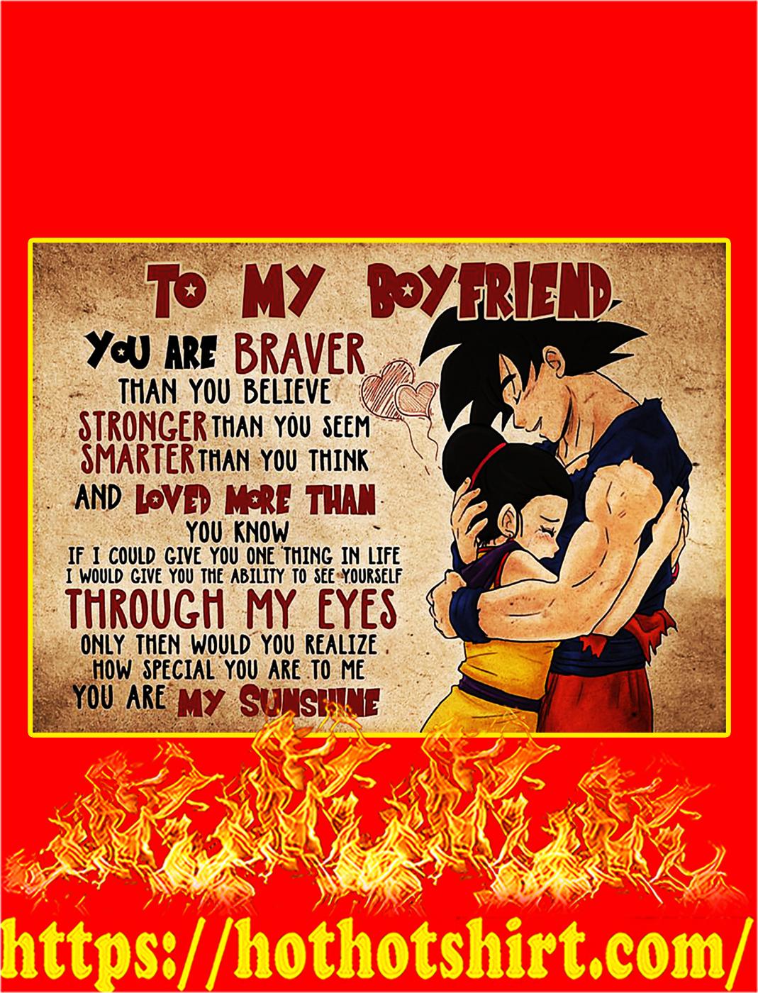 Goku and chichi to my boyfriend poster - A2