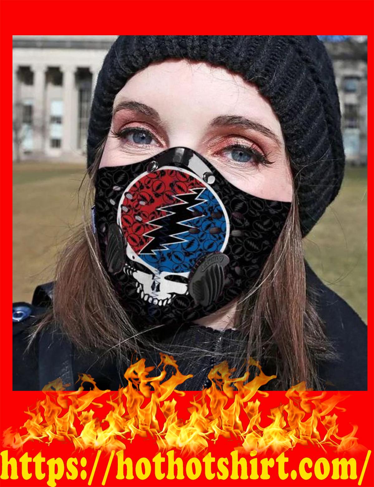 Grateful dead logo POD face mask - detail