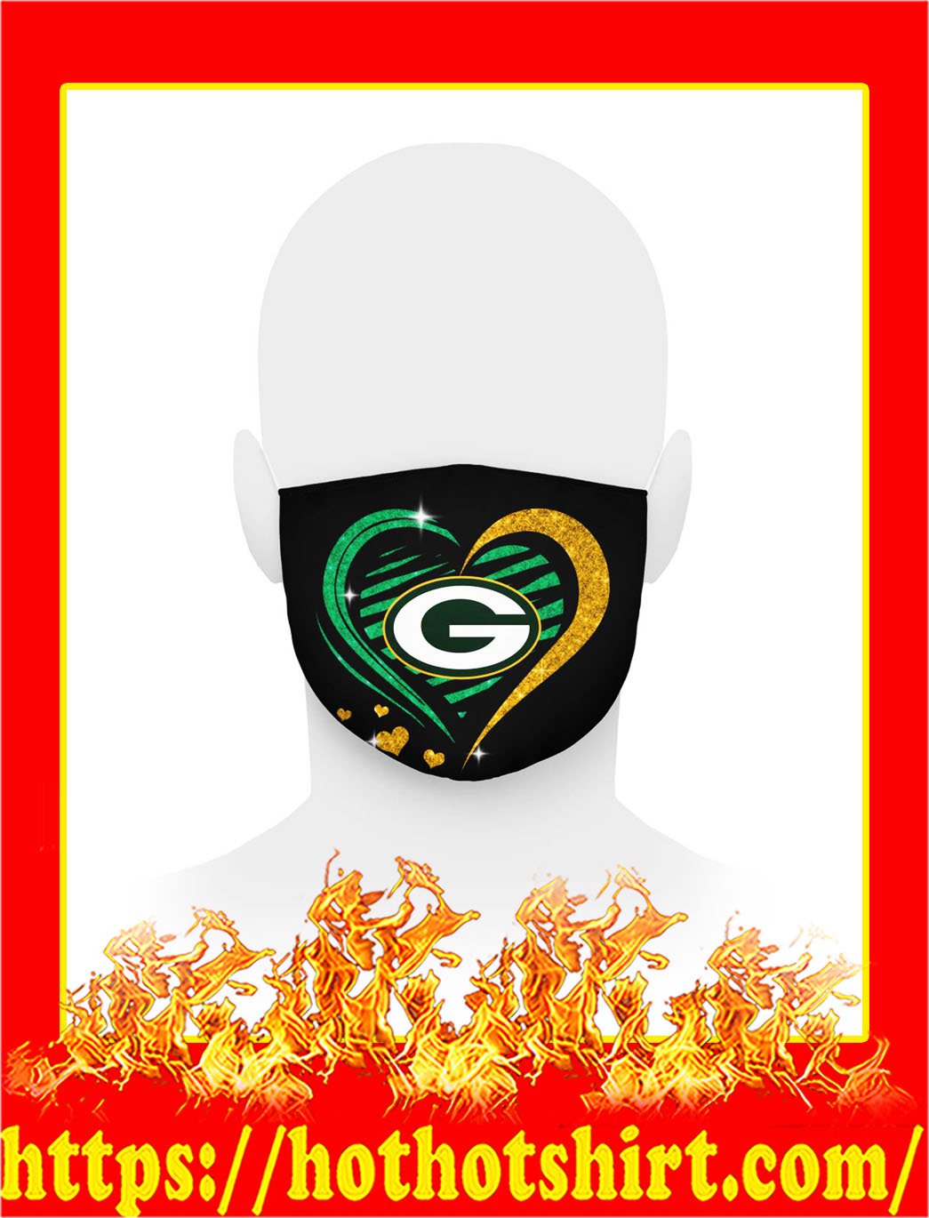 Green bay packers glitter heart face mask- pic 1