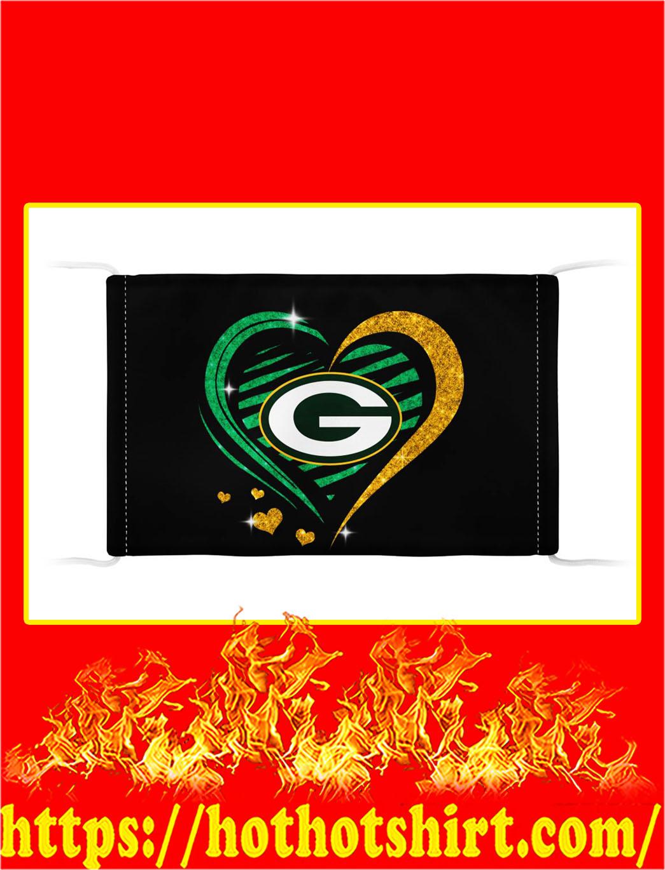 Green bay packers glitter heart face mask