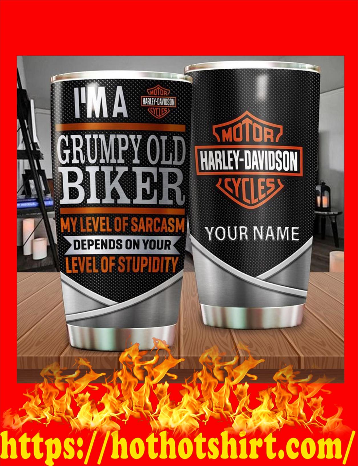 Harley davidson I'm a grumpy old biker custom name personalize tumbler - detail