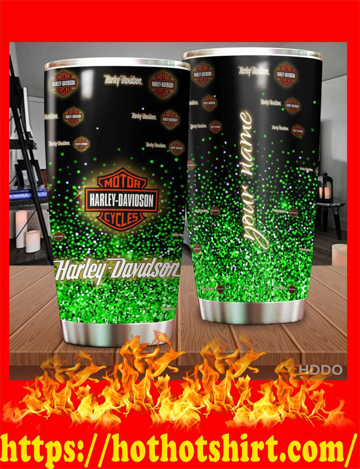 Harley davidson custom name personalize tumbler - green