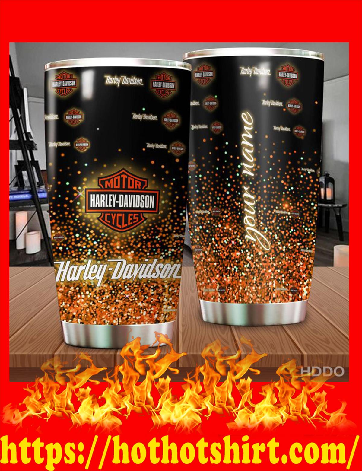 Harley davidson custom name personalize tumbler - orange