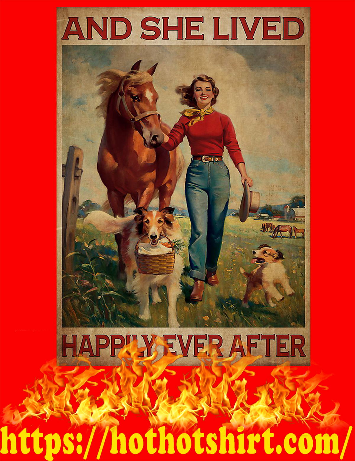 Horse and dog And she lived happily ever after poster - A4