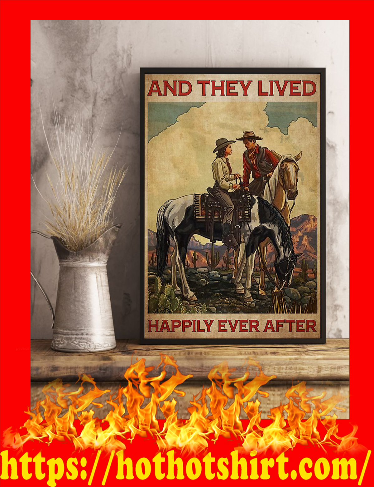 Horse couple and they lived happily ever after poster