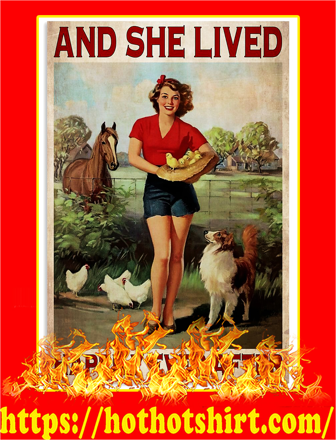 Horse dog chicken And she lived happily ever after poster