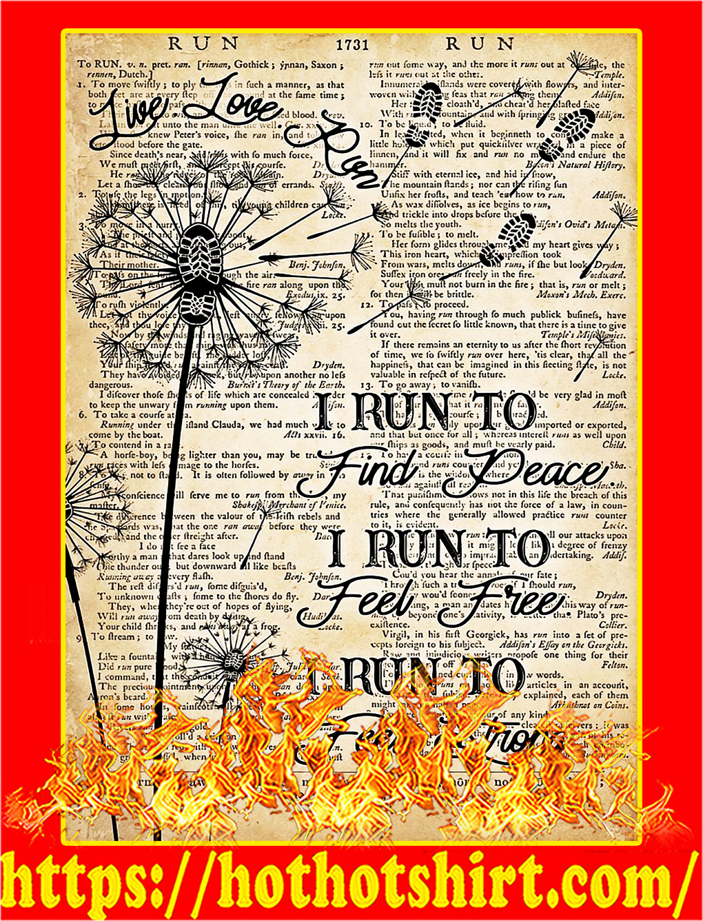 I run to find peace I run to feel free poster - A3