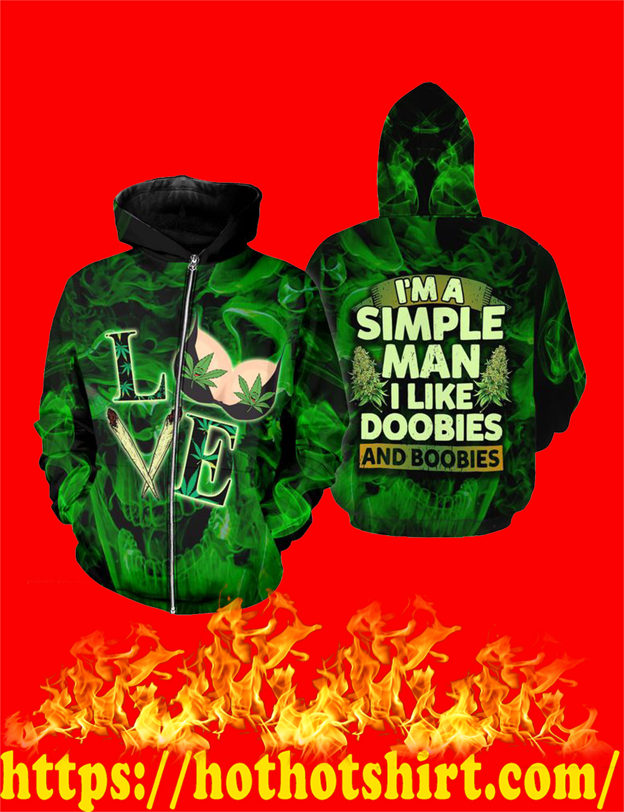 I'm a simple man i like doobies and boobies 3d all over print zip hoodie