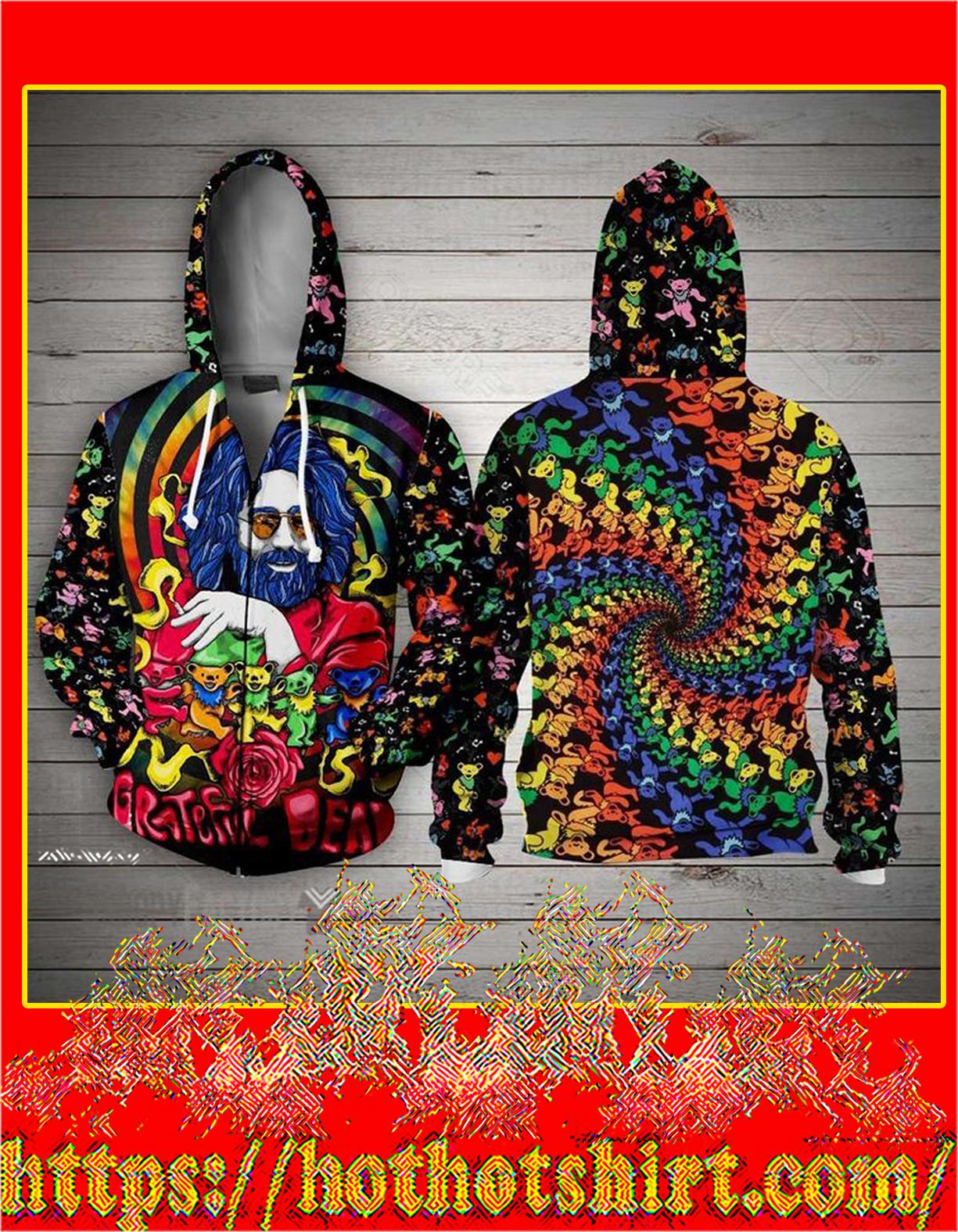 Jerry Garcia grateful dead bears 3d zip hoodie