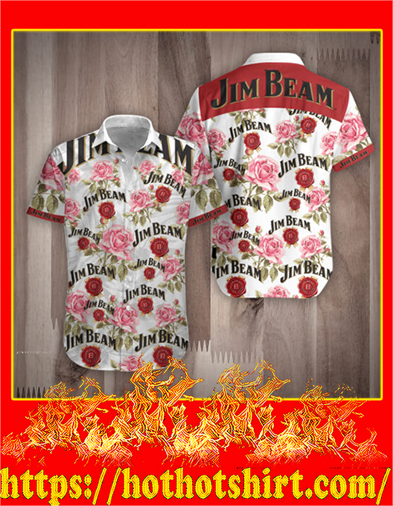 Jim beam rose hawaiian shirt - detail