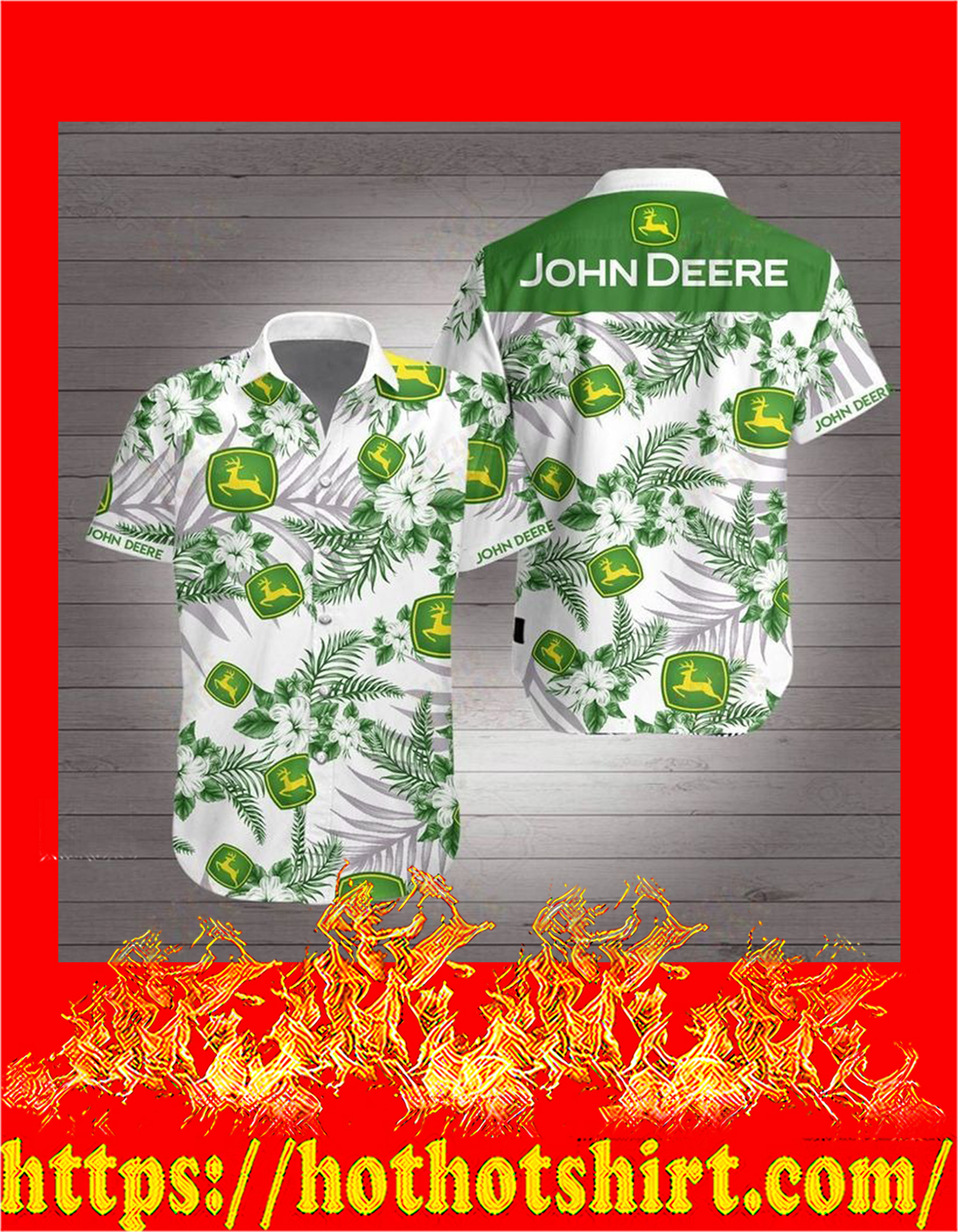 John deere hawaiian shirt - detail