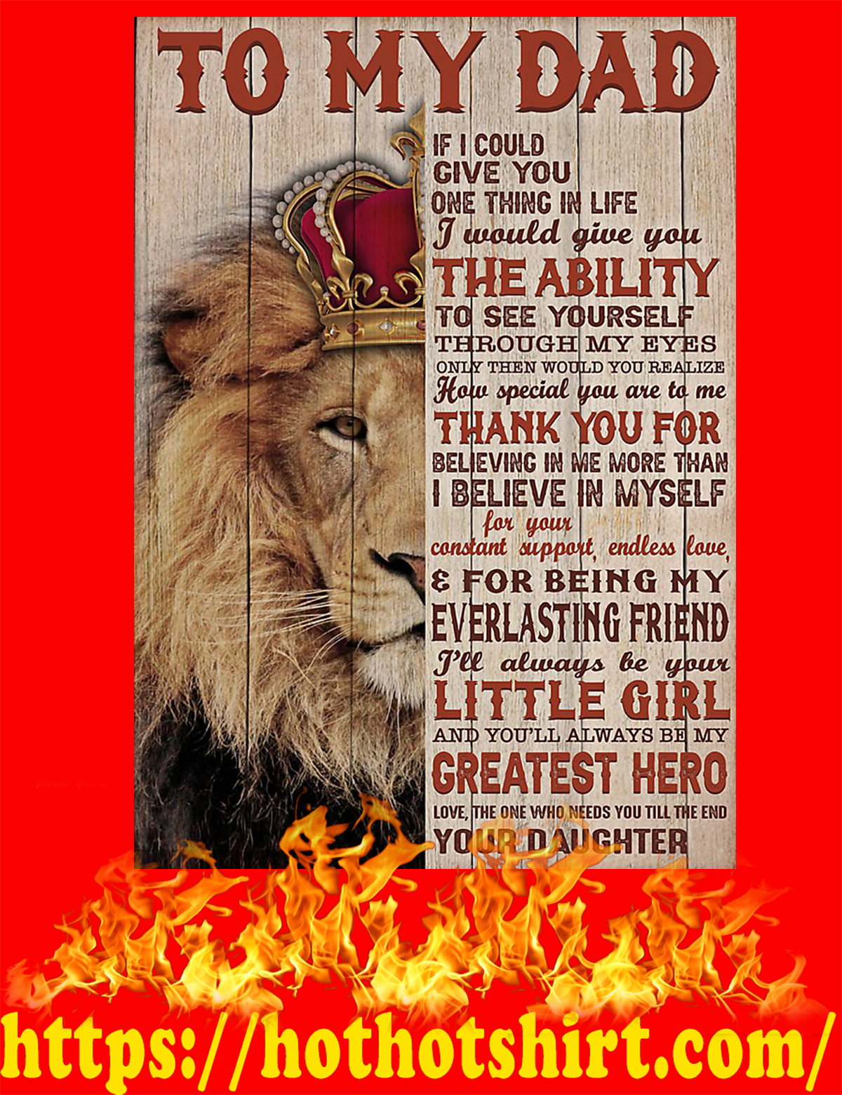 Lion To my dad your daughter poster - A3