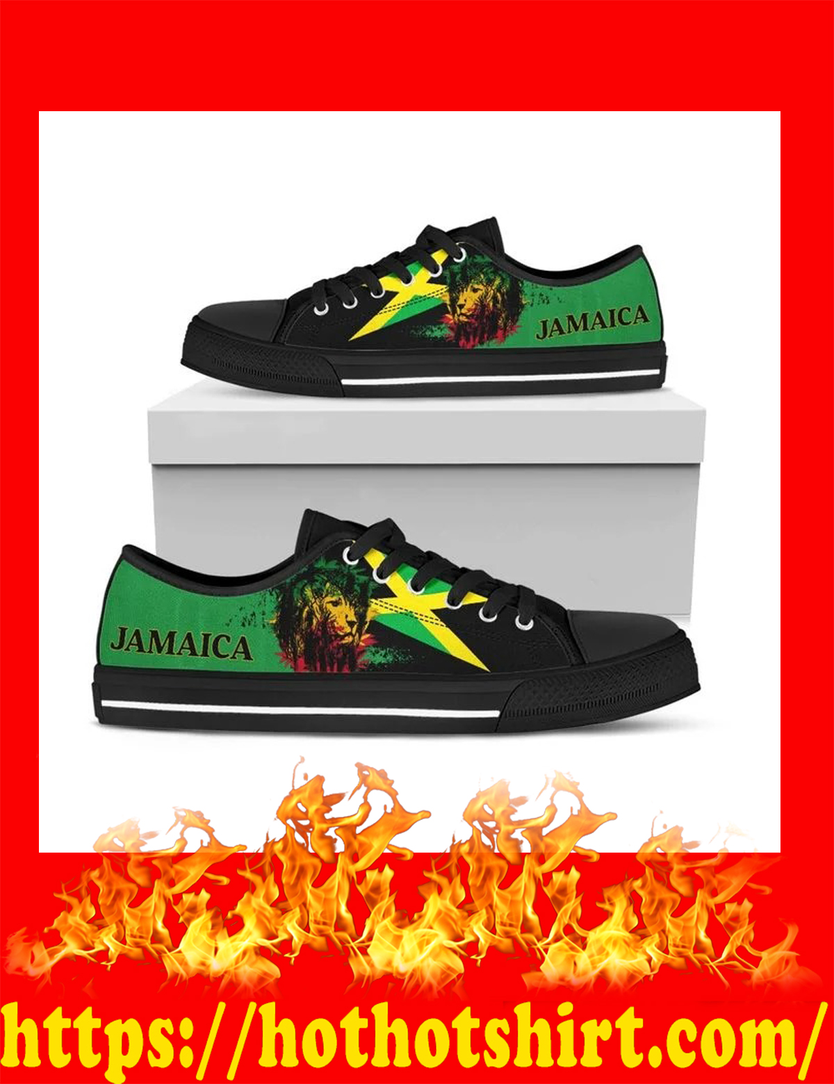 Lion flag jamaica low top shoes - pic 1