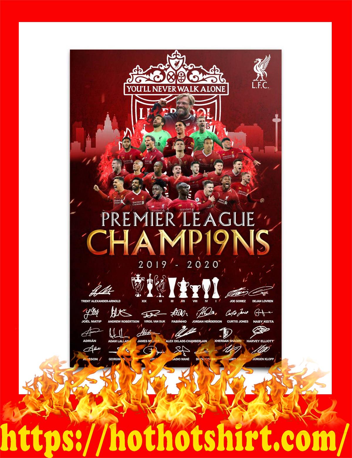 Liverpool premier league champions 2019 2020 signature poster - A4