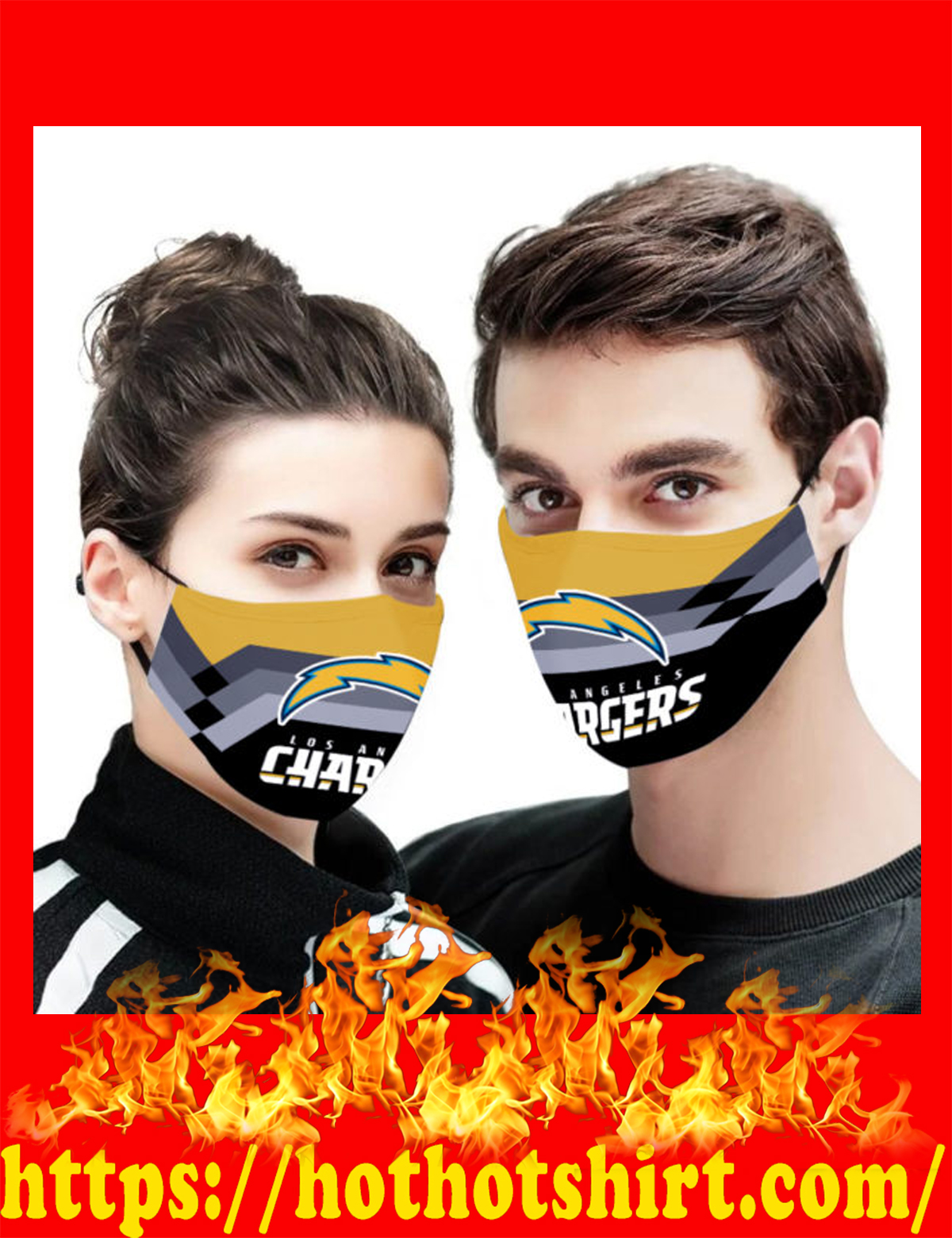 Los angeles chargers face mask - detail