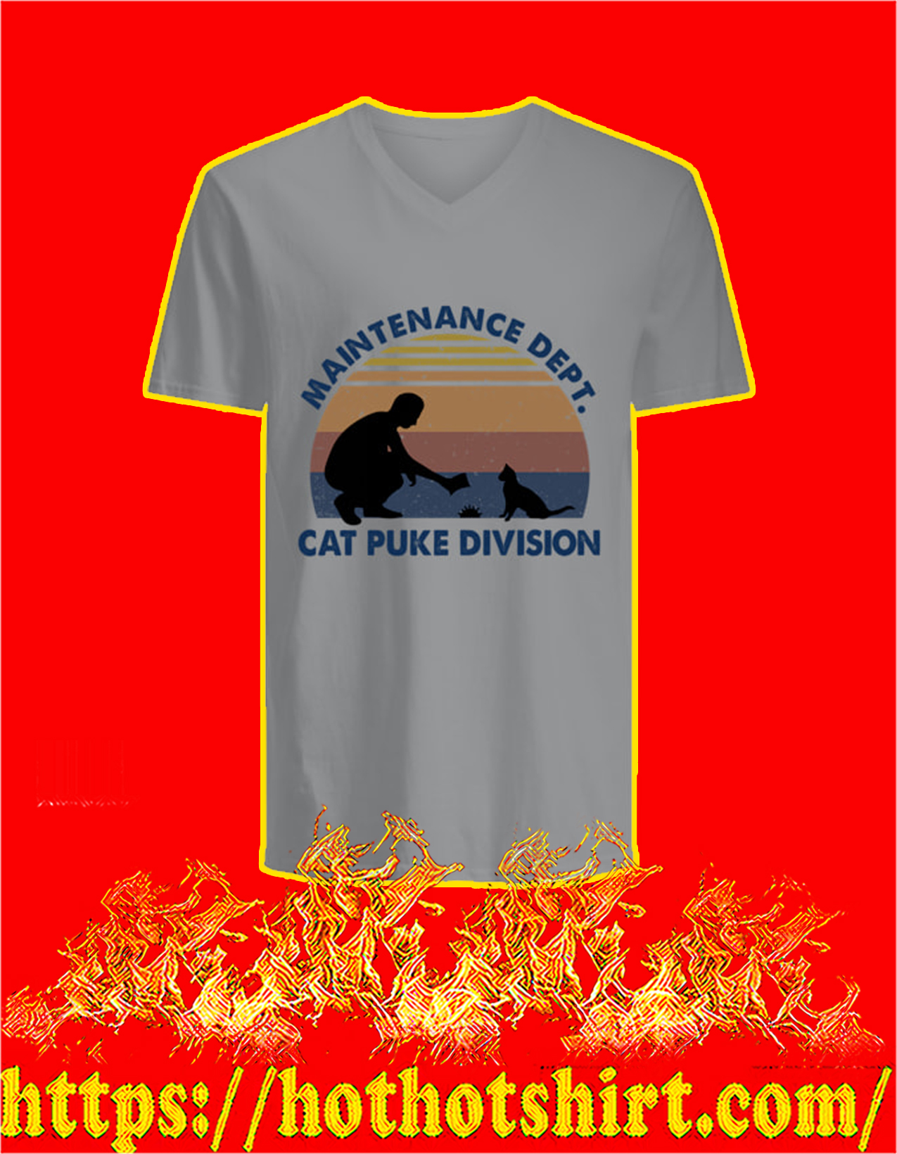 Maintanance Dept Cat Puke Division v-neck