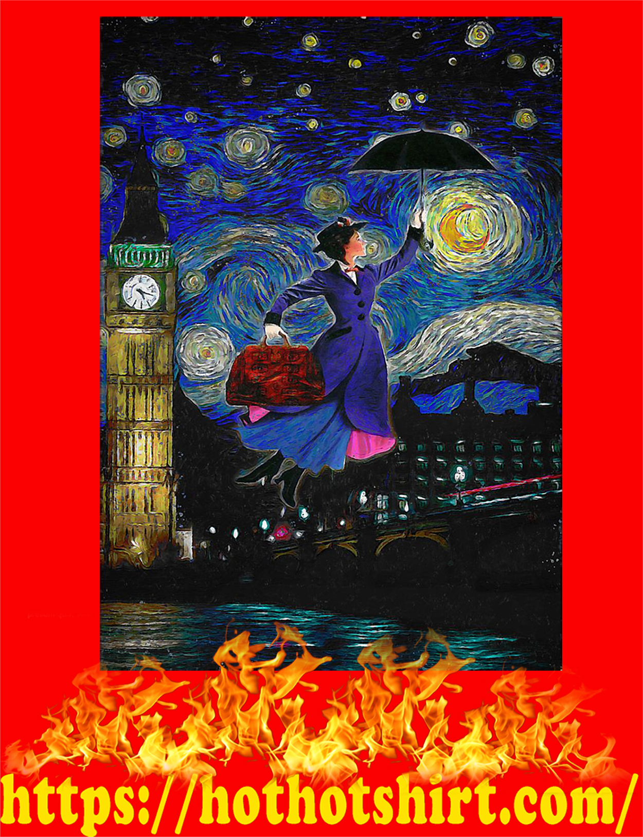 Mary poppins starry night van gogh poster - A4