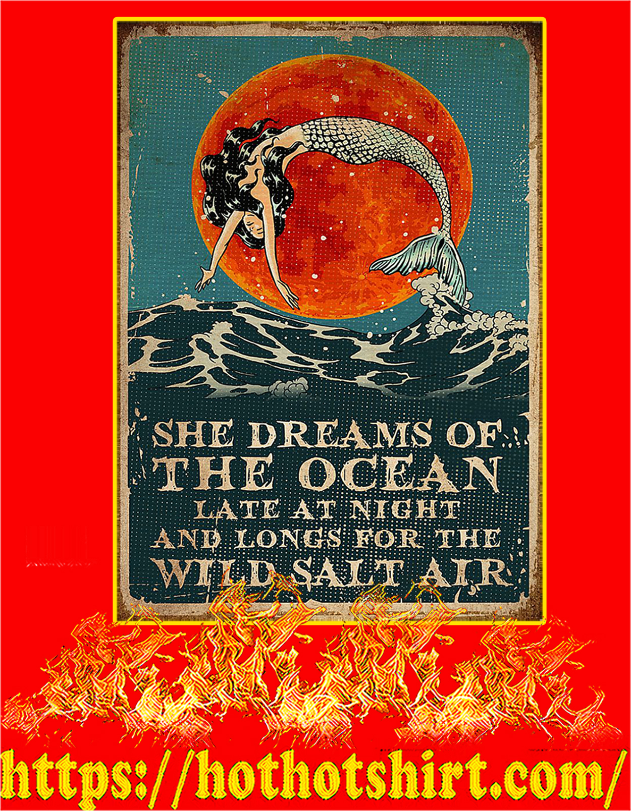 Mermaid she dreams of the ocean poster - A3