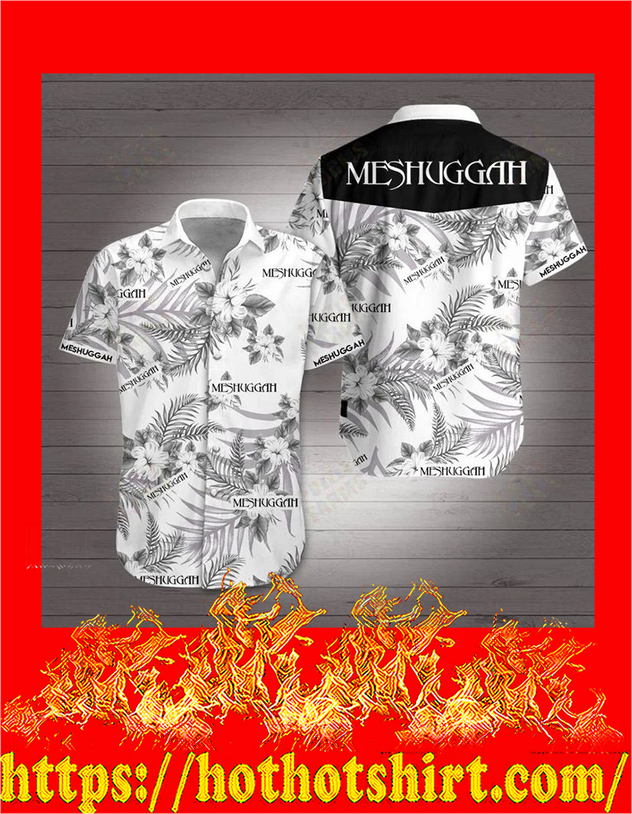 Meshuggah hawaiian shirt - detail