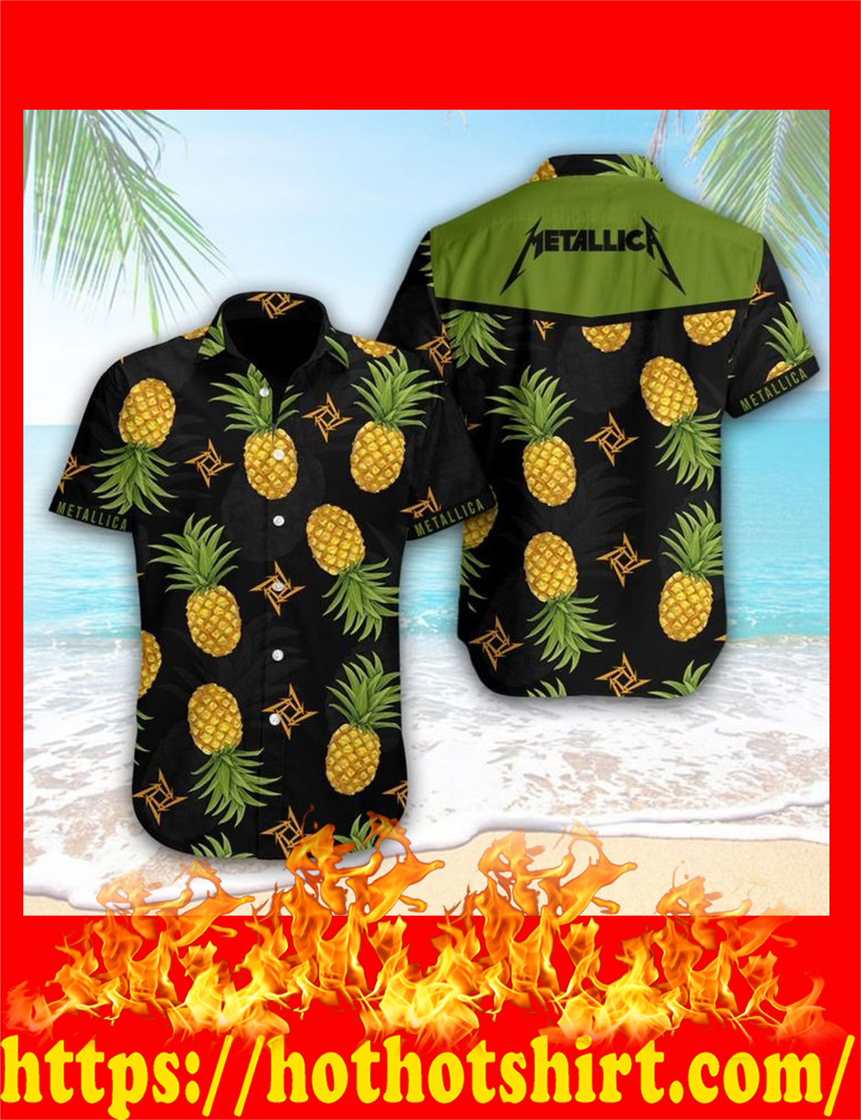 Metallica pineapple hawaiian shirt - detail