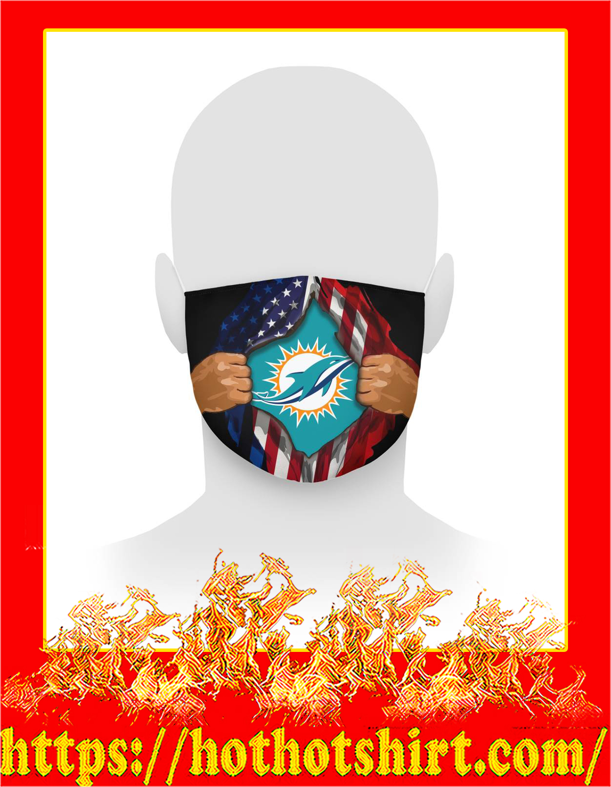 Miami dolphins inside me american flag face mask - detail