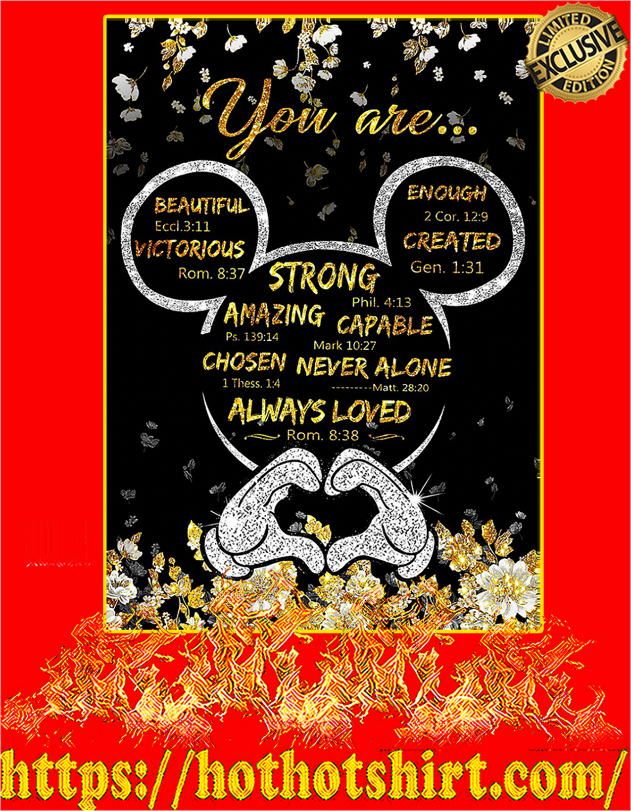 Mickey mouse you are strong amazing capable poster - A2