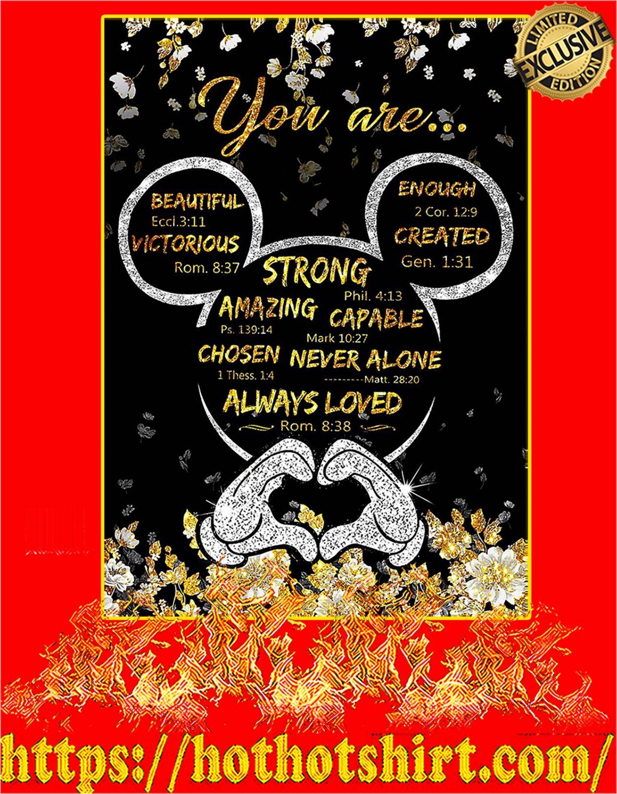 Mickey mouse you are strong amazing capable poster - A3