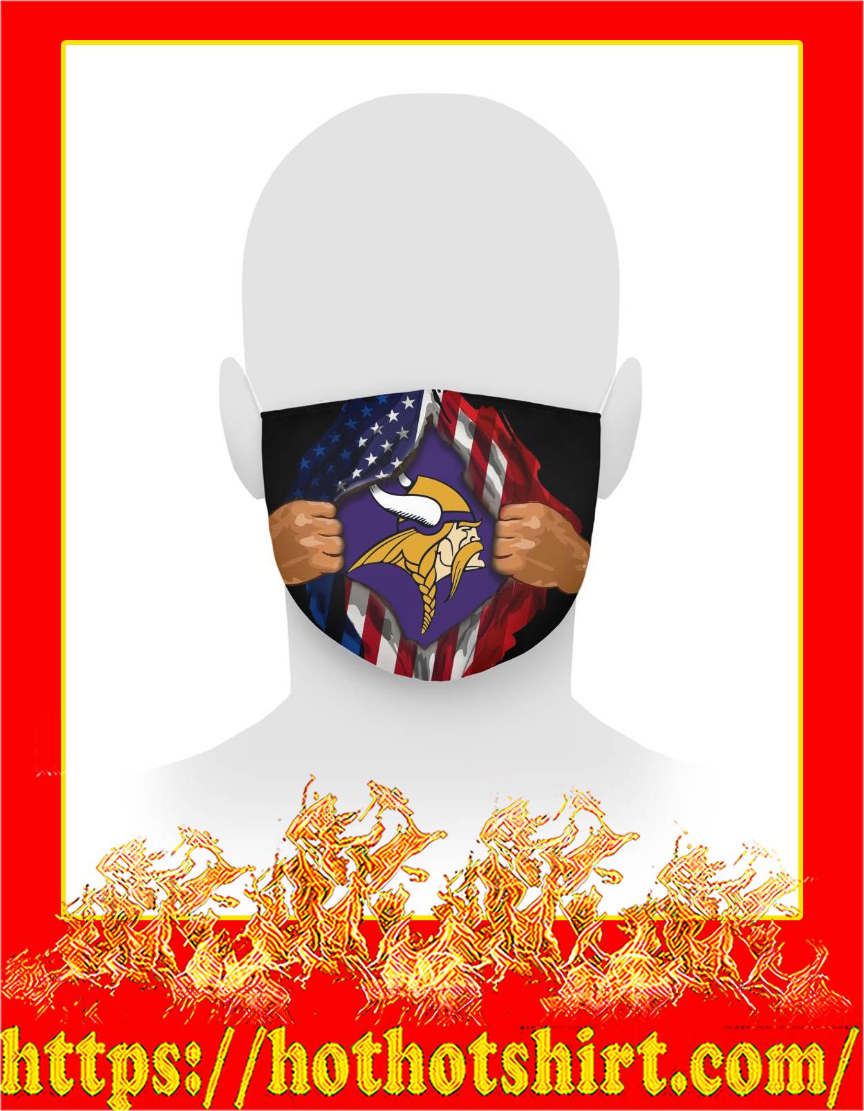 Minnesota vikings inside me american flag face mask - detail