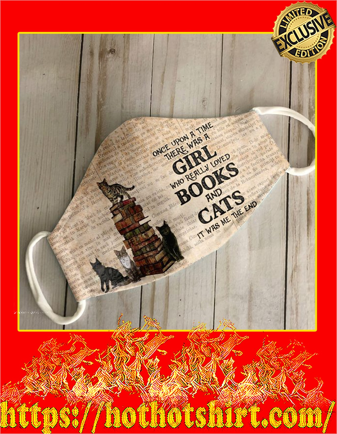Once upon a time there was a girl loved books and cats face mask - detail
