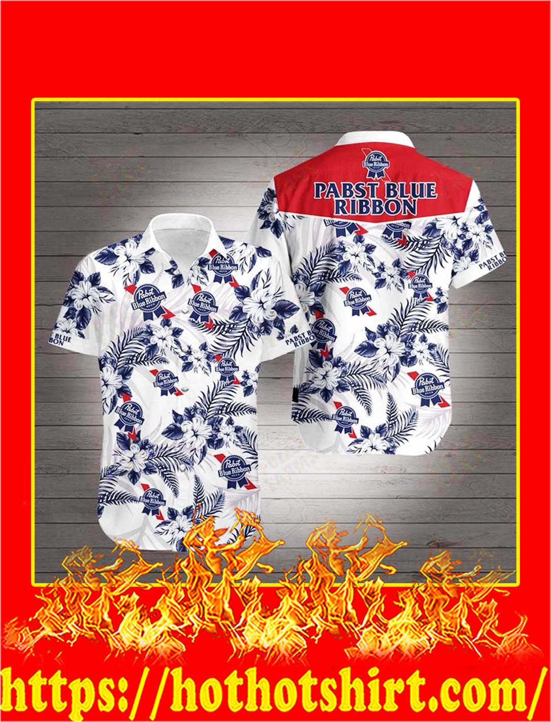 Pabst blue ribbon hawaiian 3d shirt - L