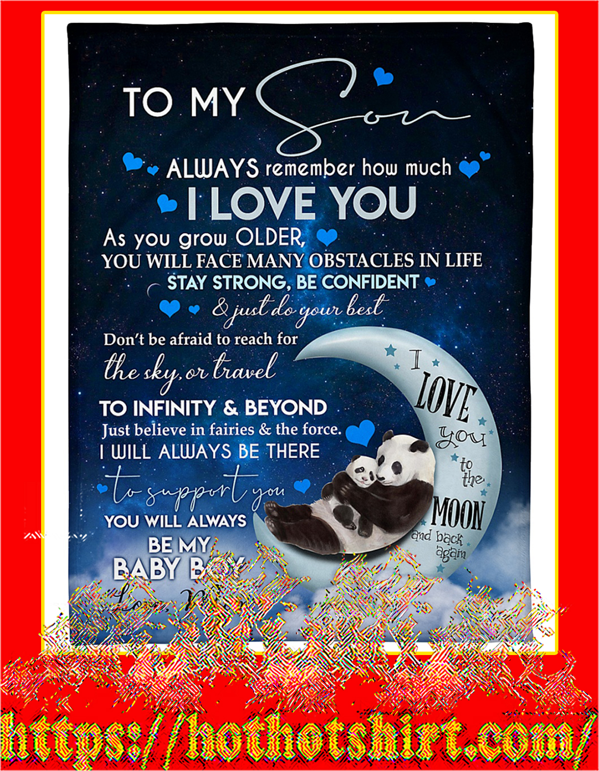 Panda To my son love mom blanket - large size