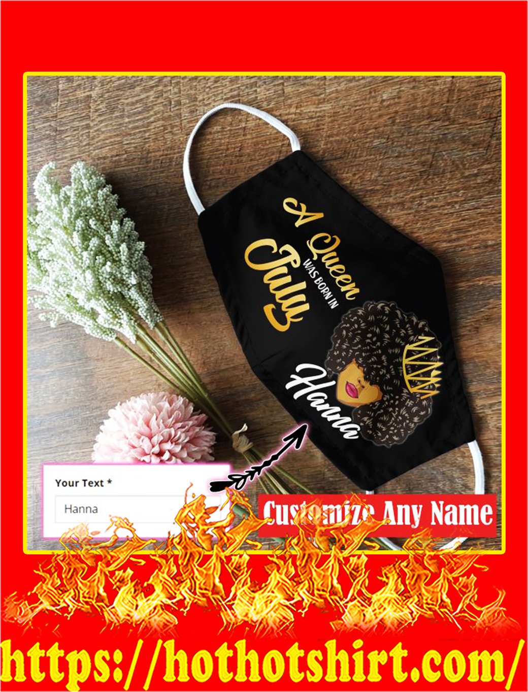 Personalized july black queen face mask- pic 1