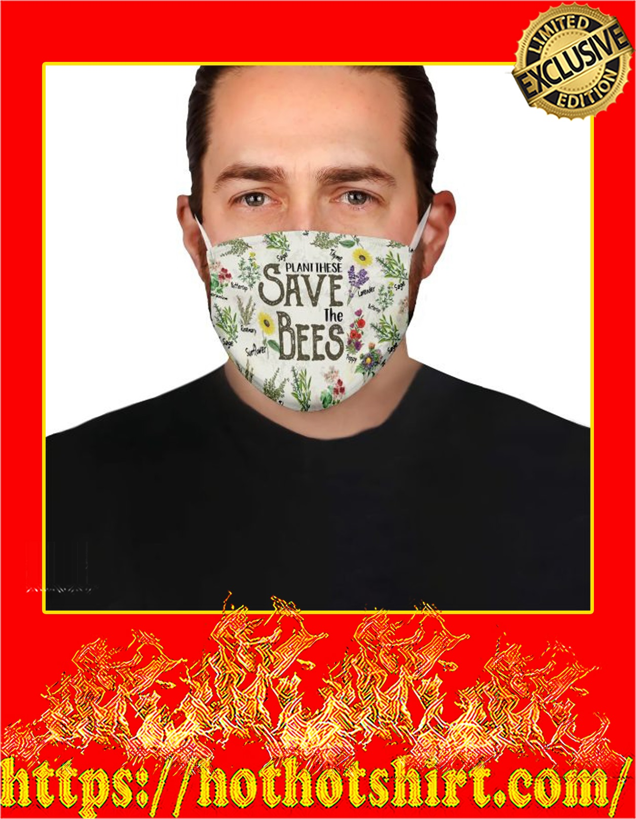 Plant these save the bees face mask - detail