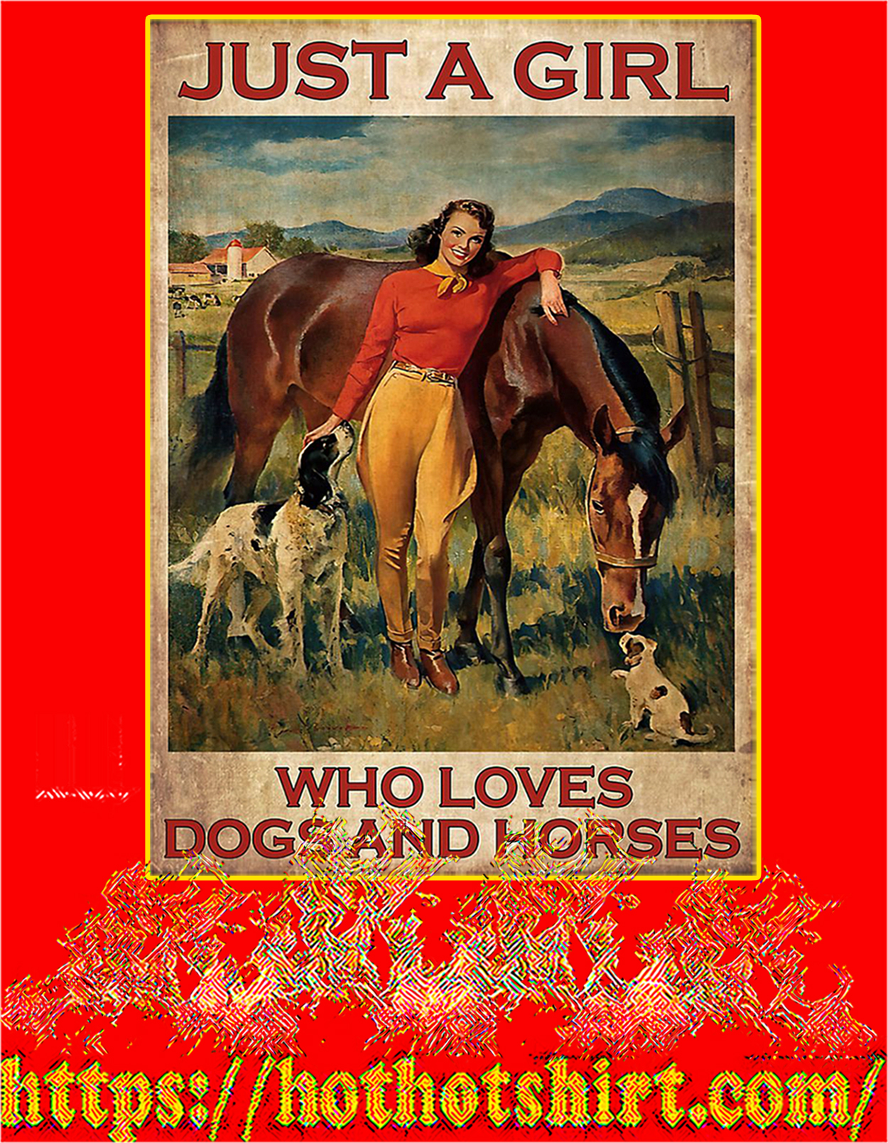Poster Just a girl who loves dogs and horses - A2