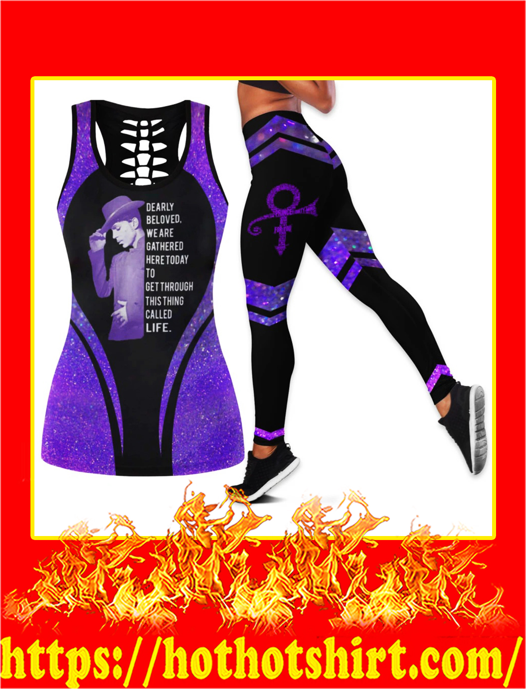 Prince Dearly beloved we are gathered here today legging and hollow tank top - pic 1