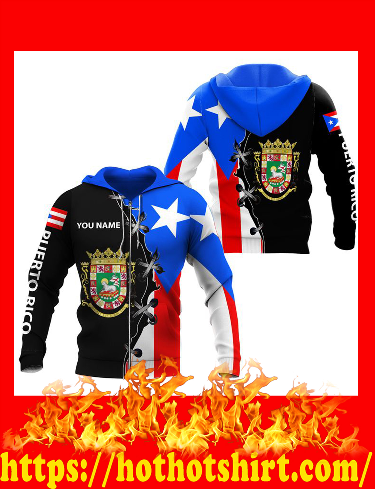 Puerto rico custom name personalized 3d zip hoodie