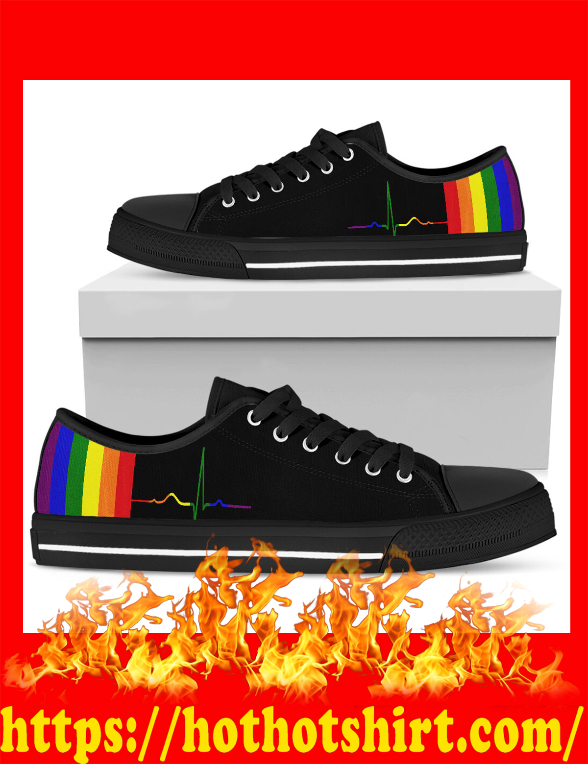 Rainbow beat lgbt low top shoes - pic 1