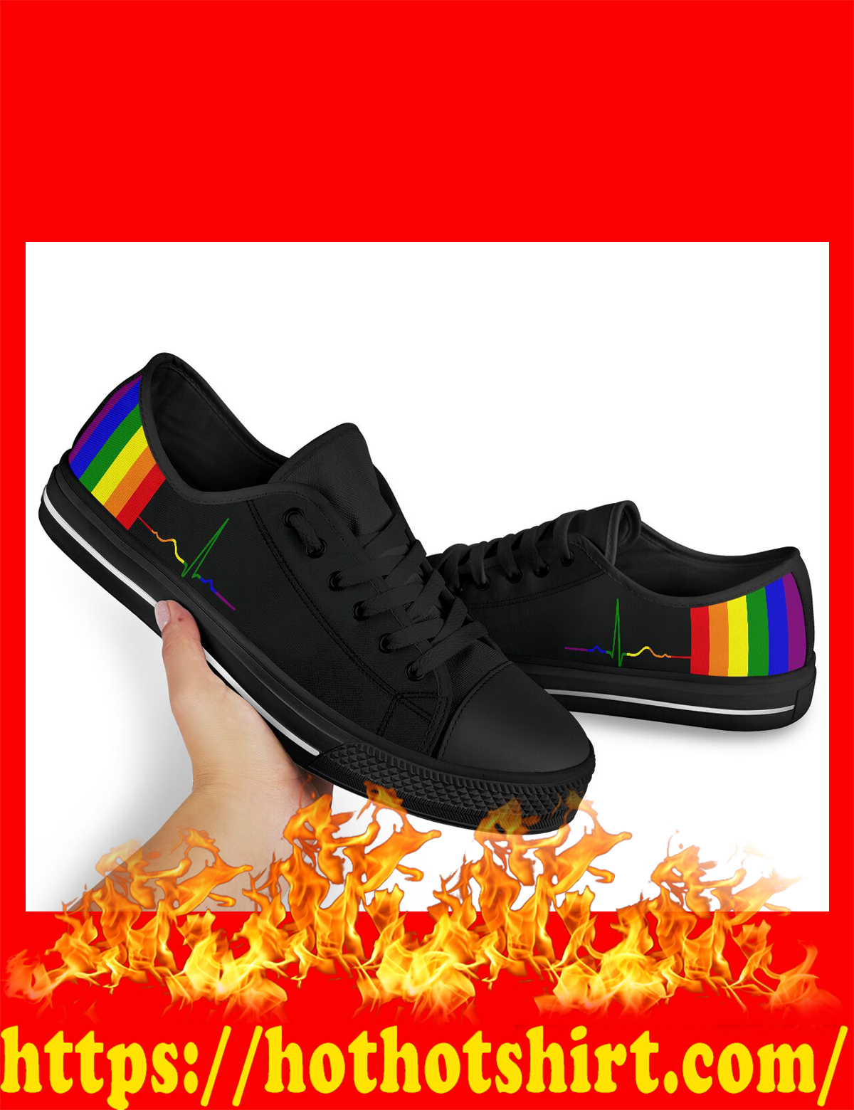 Rainbow beat lgbt low top shoes - pic 2