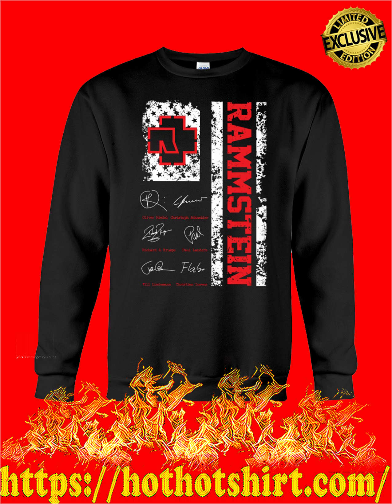 Rammstein american flag signature sweatshirt