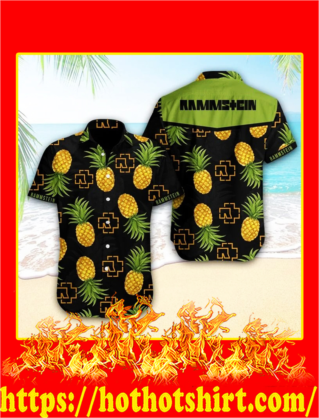 Rammstein pineapple hawaiian shirt - L