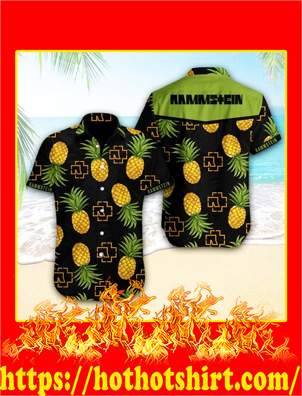 Rammstein pineapple hawaiian shirt - M