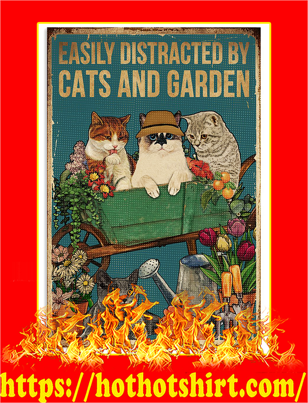 Retro Easily distracted by cats and garden poster- A3