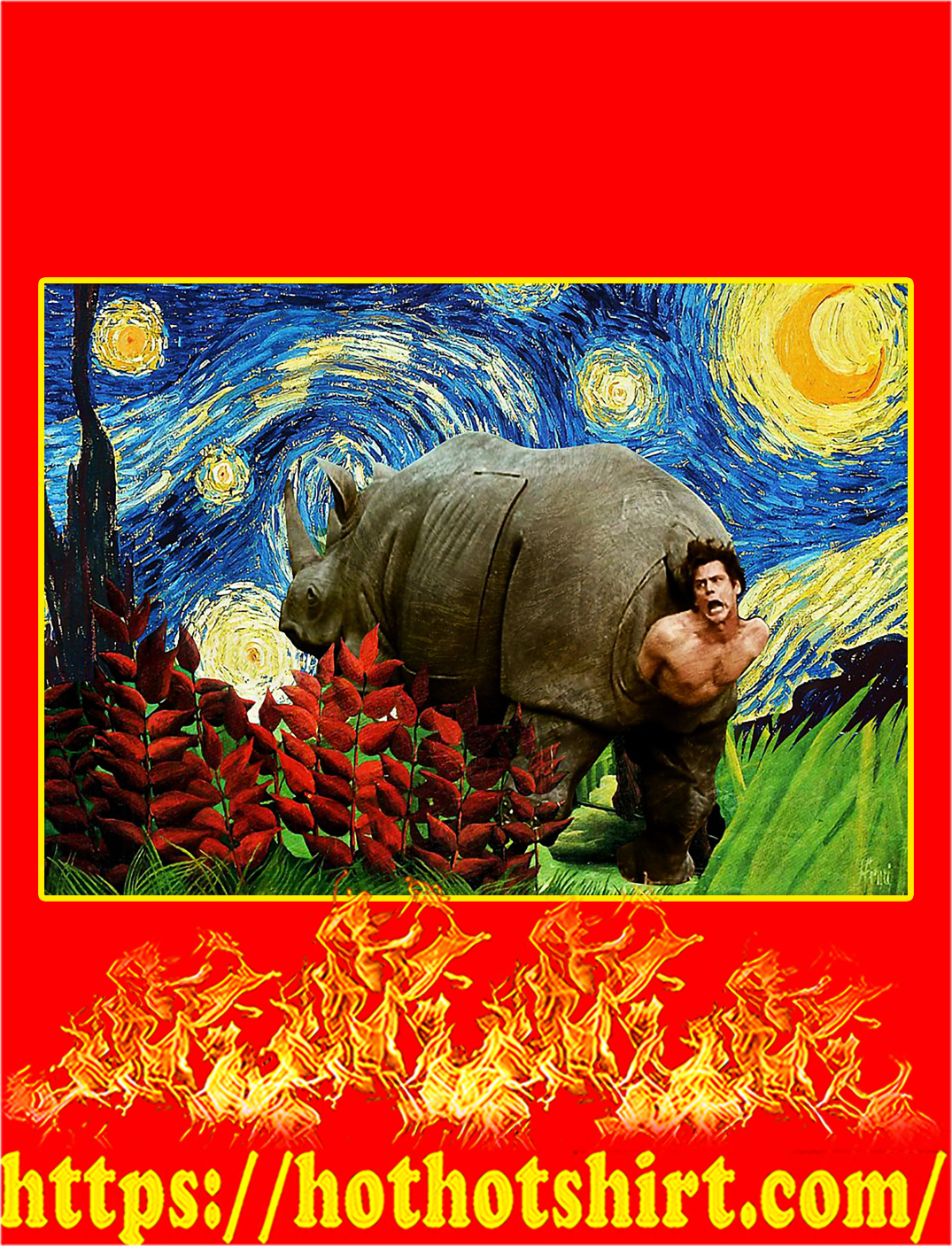 Rhino scene ace ventura starry night van gogh poster - A3