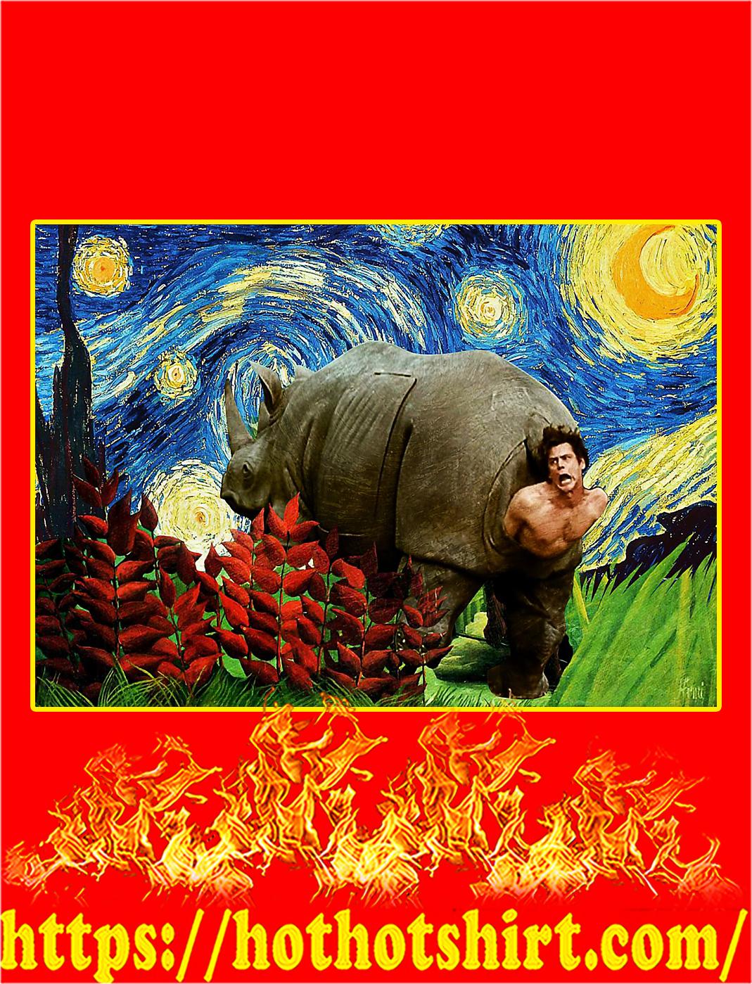 Rhino scene ace ventura starry night van gogh poster