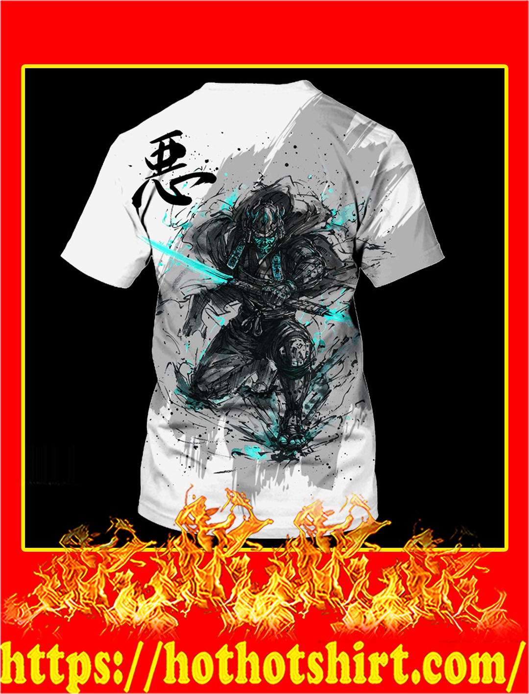 Samurai 3d all over printed t shirt- back