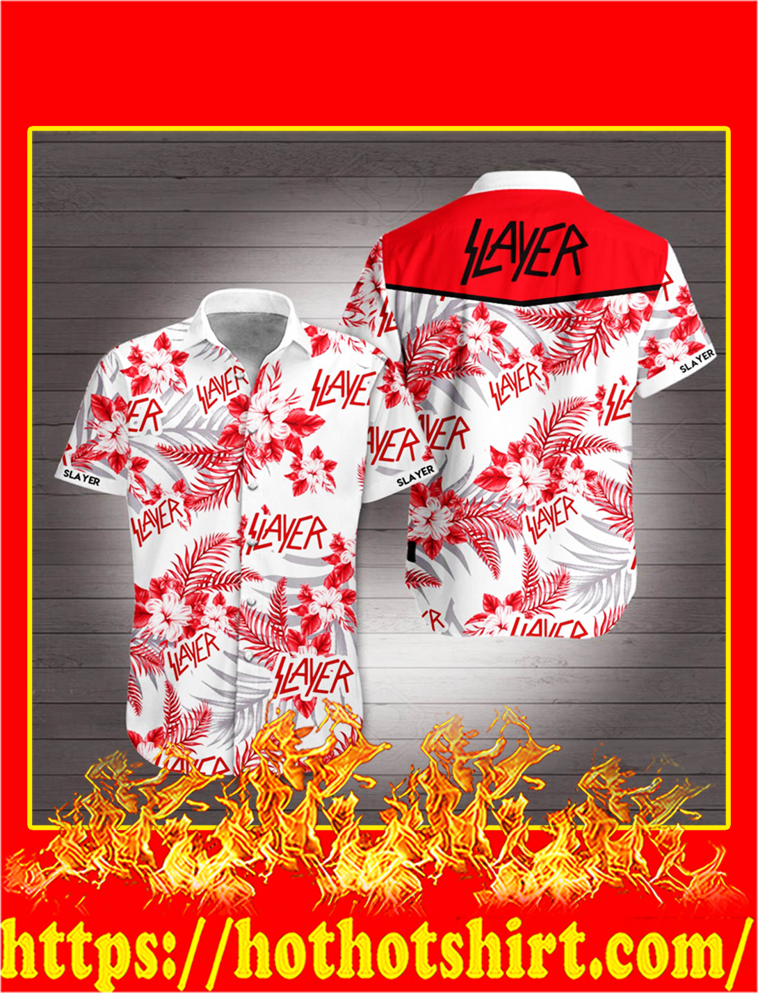 Slayer Flower Hawaiian Shirt - L