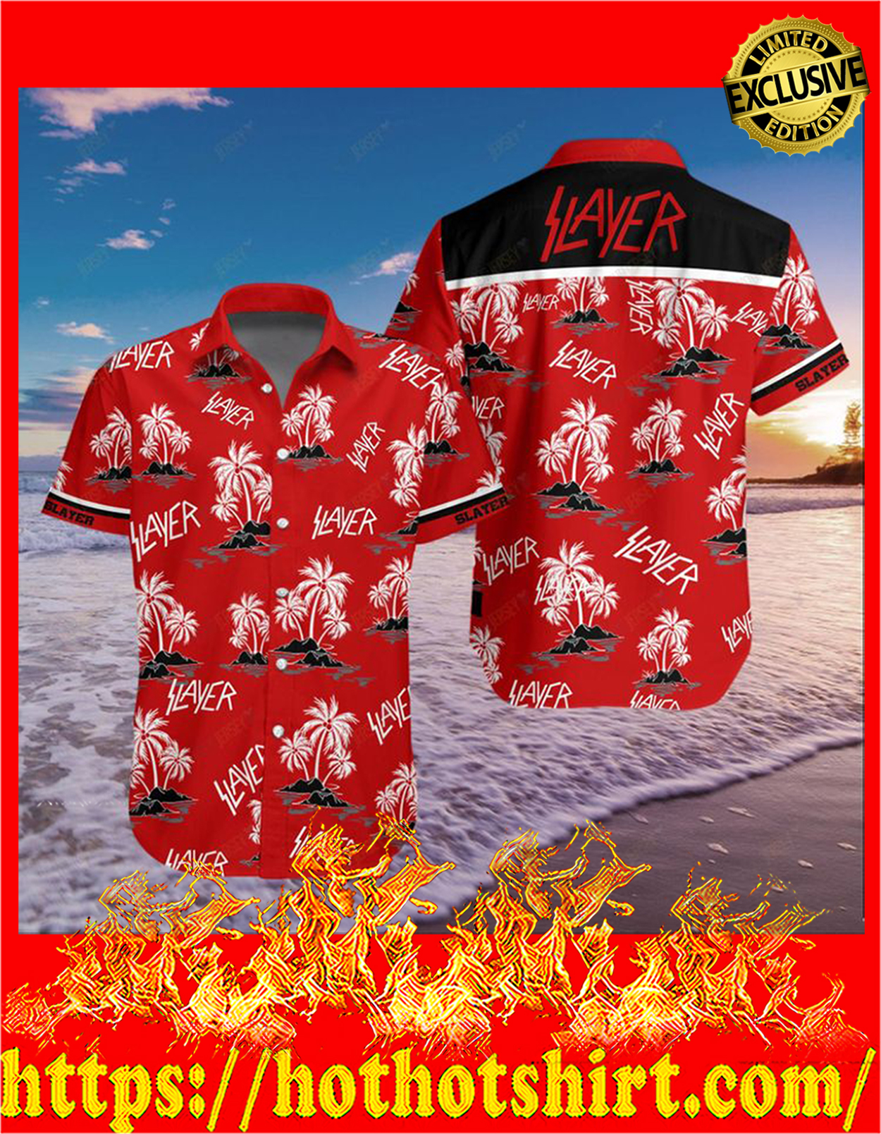 Slayer band hawaiian shirt - detail