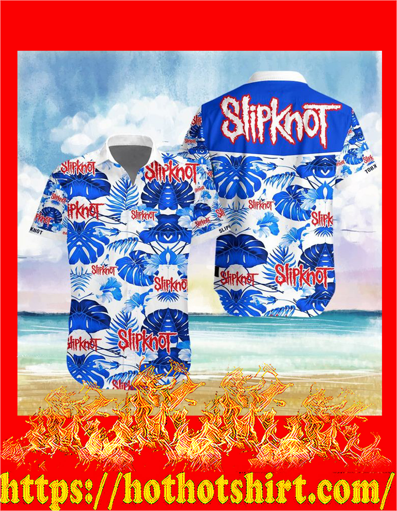 Slipknot hawaiian shirt - detail