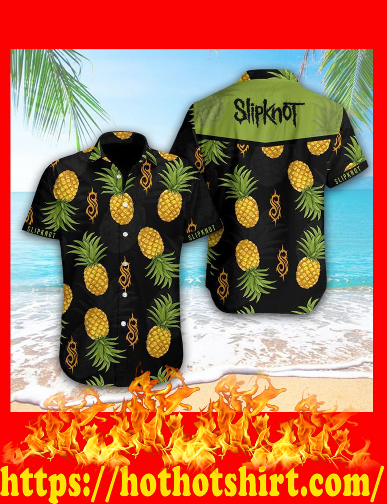 Slipknot pineapple hawaiian shirt - detail
