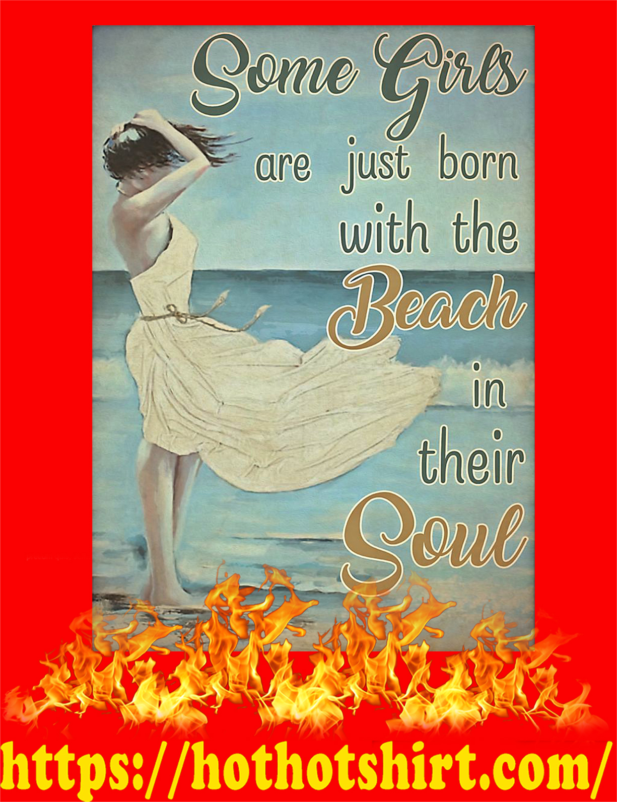 Some girls are just born with the beach poster - A3